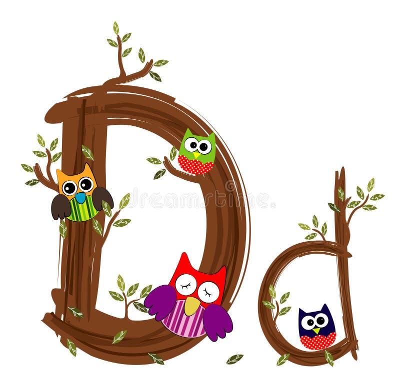 Letra de madeira D Owl Vetora ilustração stock