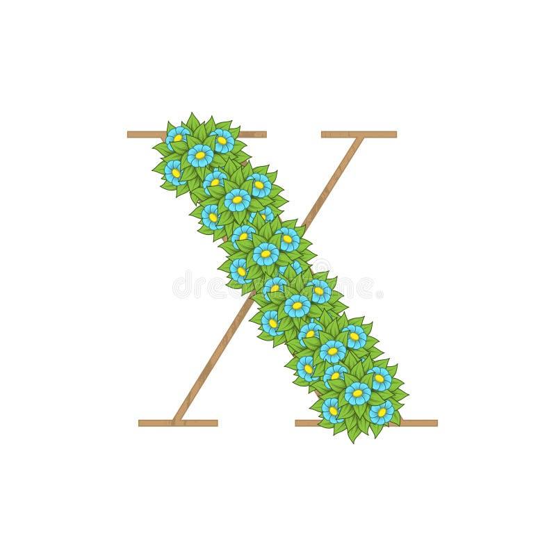 Letra de madeira X das folhas ilustração do vetor