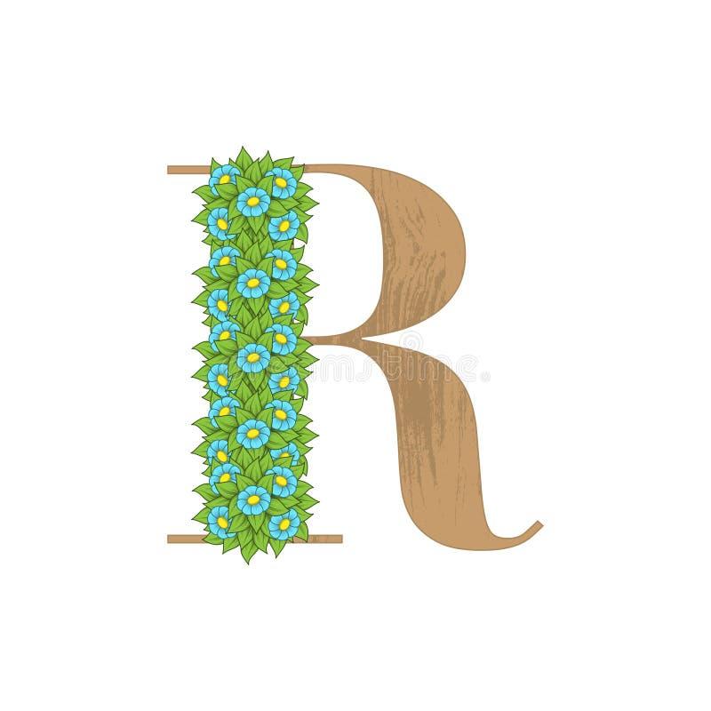 Letra de madeira R das folhas ilustração do vetor