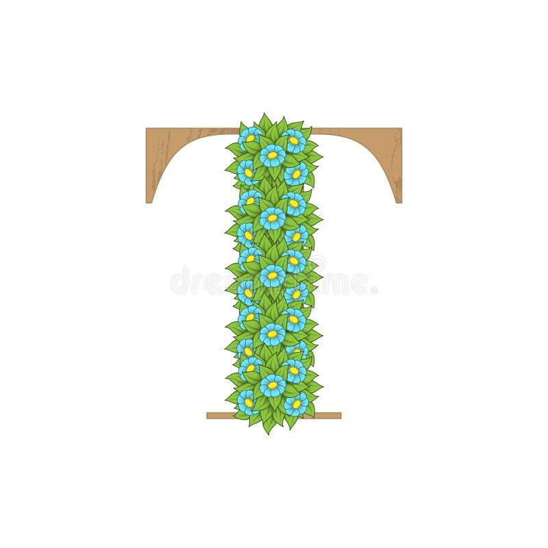 Letra de madeira T das folhas ilustração do vetor