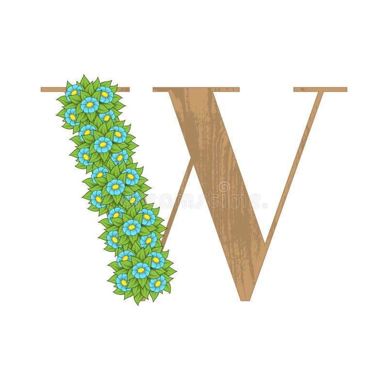 Letra de madeira W das folhas ilustração stock