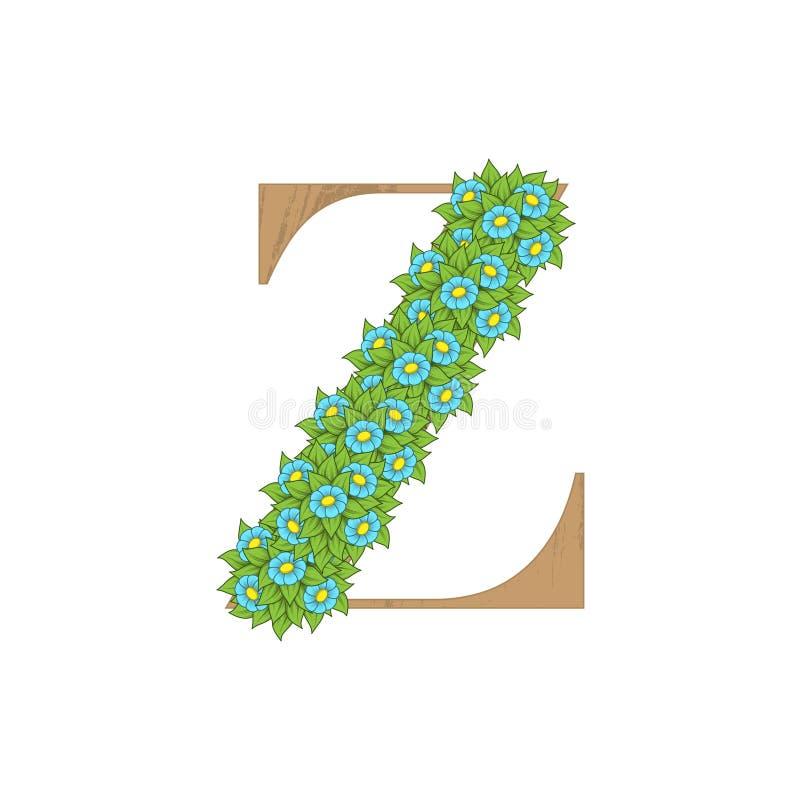 Letra de madeira Z das folhas ilustração do vetor