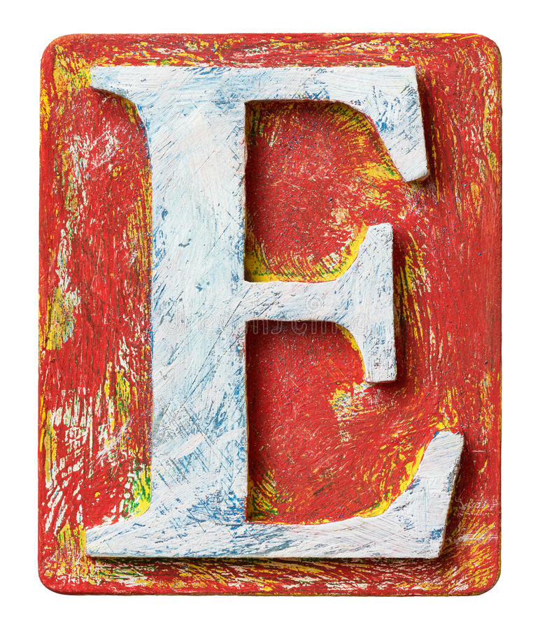 Letra de madera E del alfabeto imagen de archivo