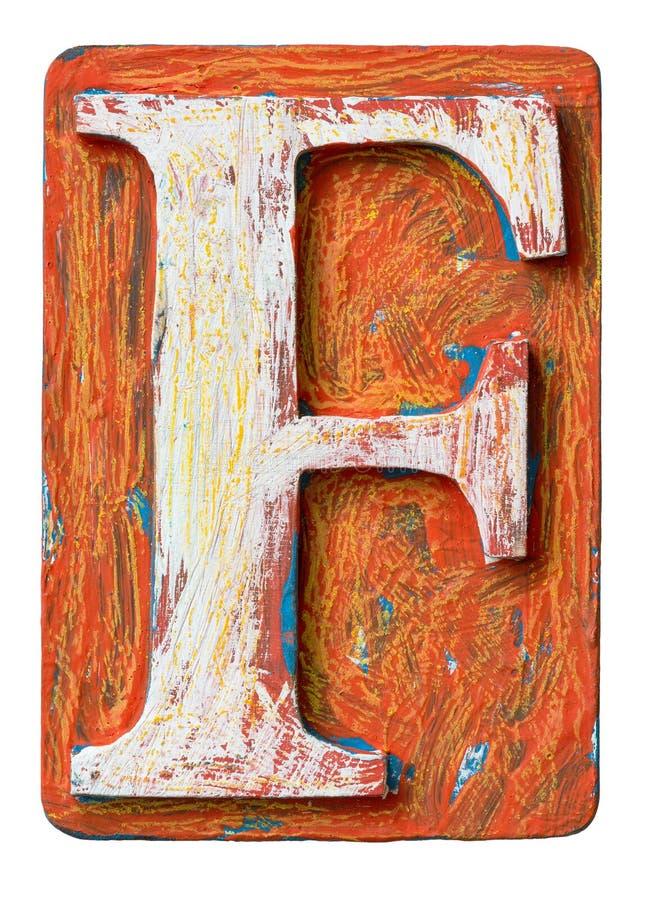 Letra de madera F del alfabeto fotografía de archivo
