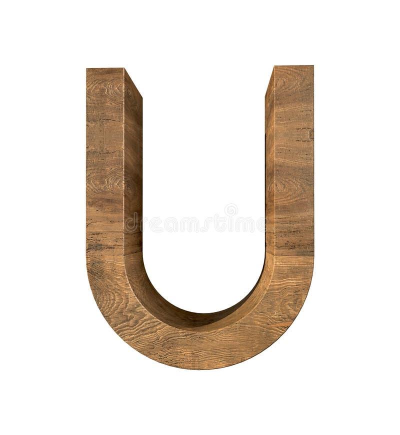 Letra de madera realista U aislada en el fondo blanco foto de archivo libre de regalías