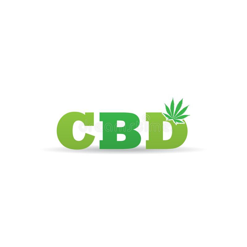 Letra de marcagem com ferro quente do logotipo de CBD com ícone do cânhamo ilustração stock