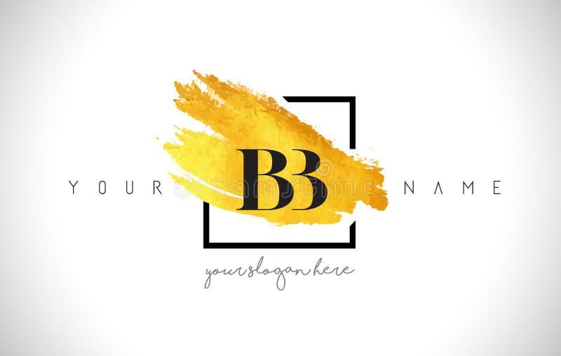 Letra de oro Logo Design del BB con el movimiento creativo del cepillo del oro stock de ilustración