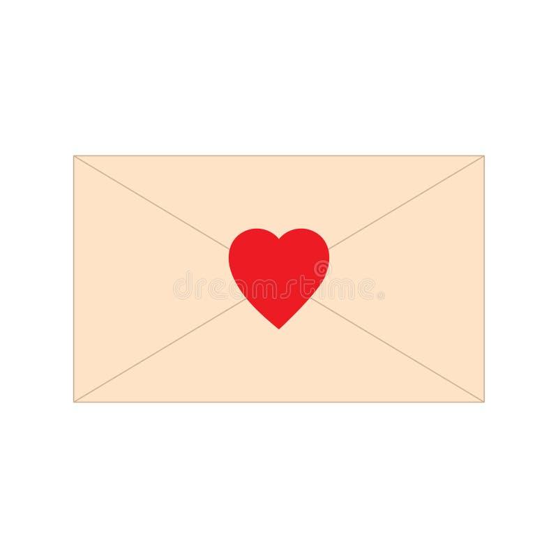 Letra de papel, envelope, com ícone vermelho da forma do coração Ilustração do vetor da mensagem do correio do amor Sinal romance ilustração royalty free