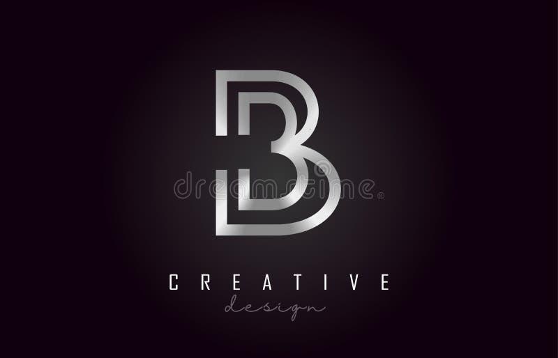 Letra de plata Logo Monogram Vector Design de B Icono creativo de la letra del metal plateado de B ilustración del vector