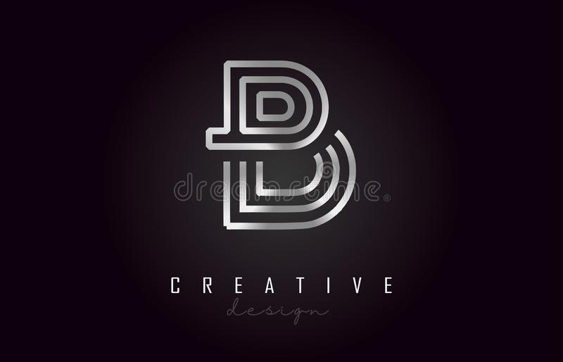 Letra de plata Logo Monogram Vector Design de B Icono creativo de la letra del metal plateado de B stock de ilustración