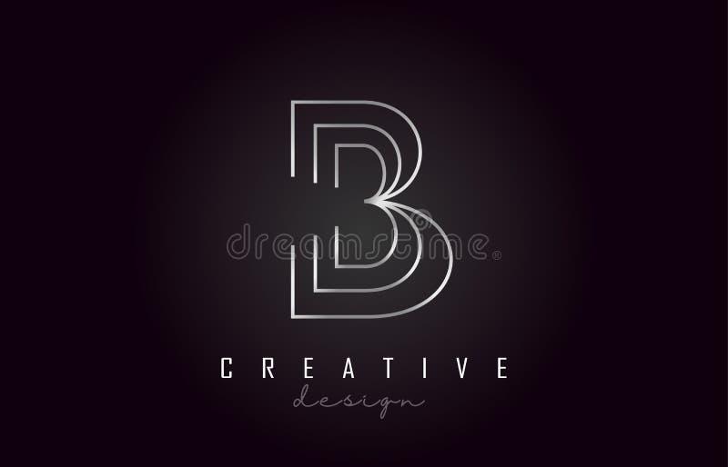 Letra de plata Logo Monogram Vector Design de B Icono creativo de la letra del metal plateado de B libre illustration