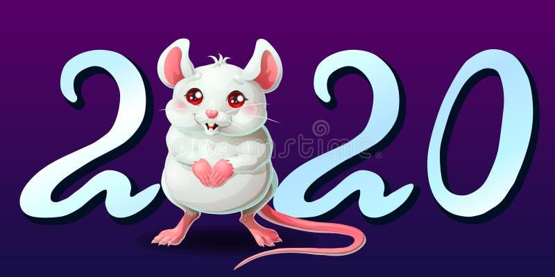 Letra de plata 2020 y soporte blanco lindo del ratón libre illustration