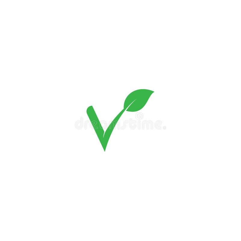 Letra de V con el logotipo verde del eco de las hojas stock de ilustración