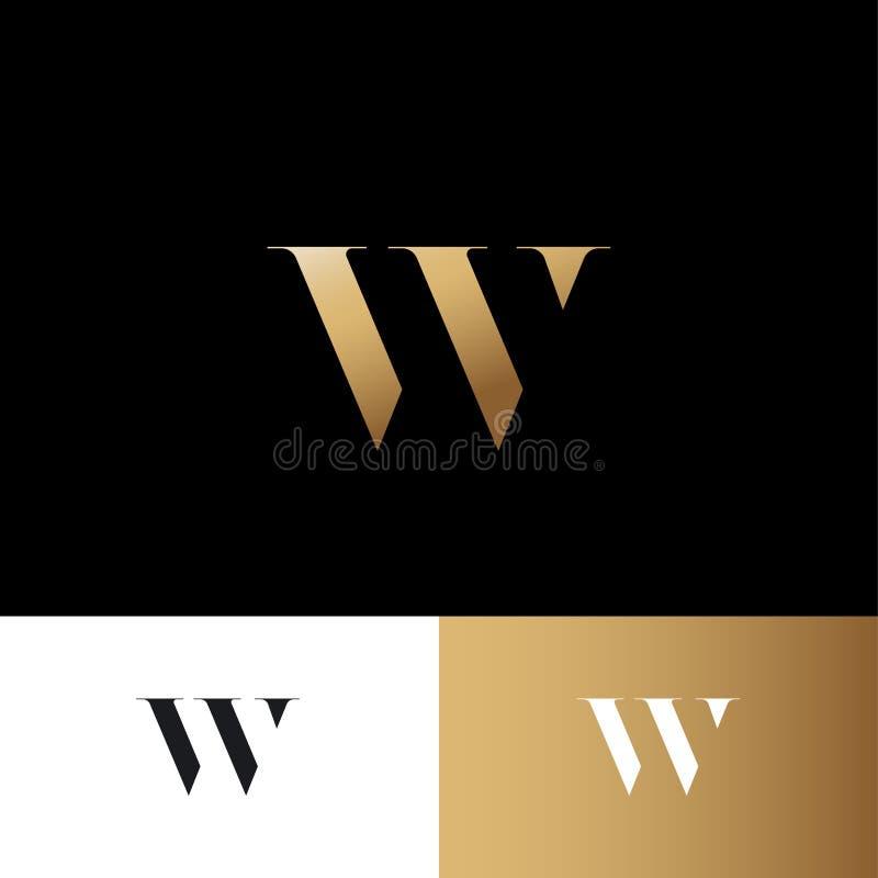 Letra de W Logotipo do ouro de W Emblema real da joia Monograma do ouro da ilusão ótica Logotipo de W do ouro ilustração royalty free