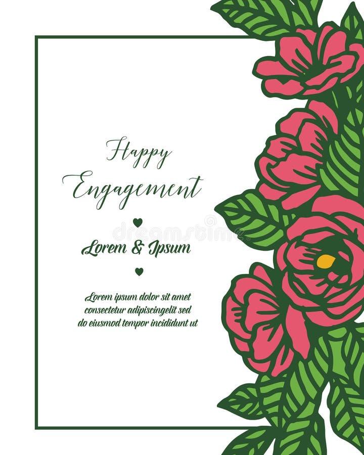 Letra del ejemplo del vector del compromiso feliz con el marco floral del diseño ilustración del vector