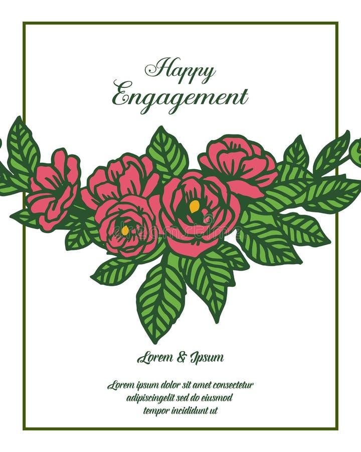 Letra del ejemplo del vector del compromiso feliz con el marco floral del diseño libre illustration