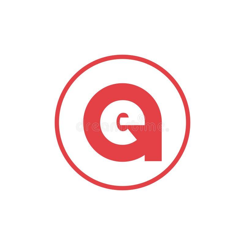 letra del ejemplo del vector un diseño negativo del logotipo del icono de la letra e del espacio stock de ilustración