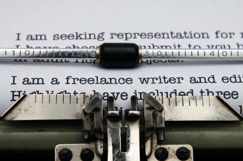 Letra del escritor free lance imagen de archivo libre de regalías