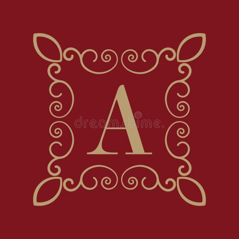Letra A del monograma Ornamento caligráfico oro Conceptos retros, del negocio y del vintage Ilustración del vector libre illustration