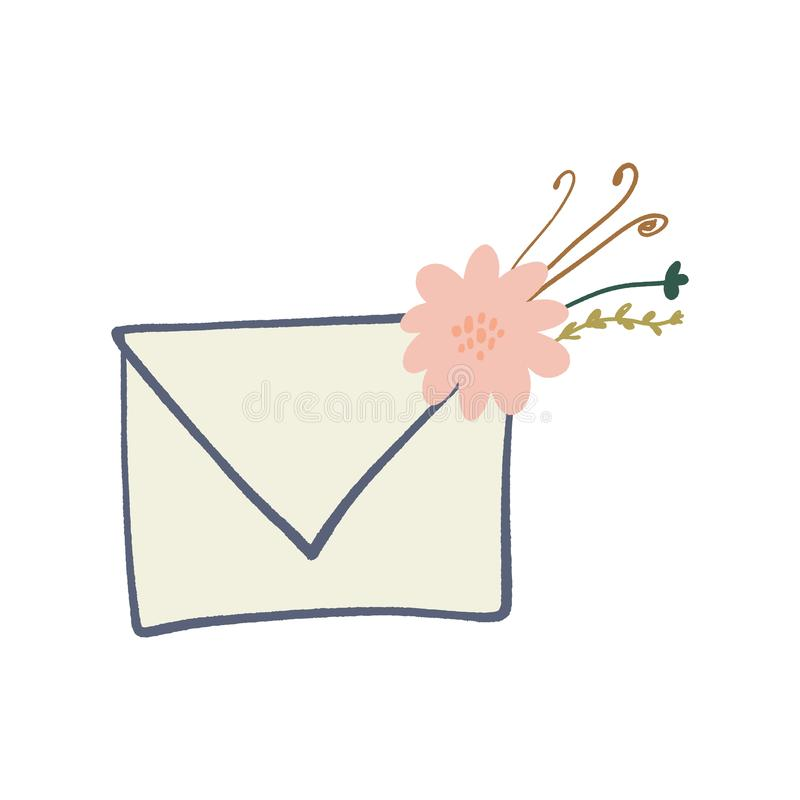 Letra del sobre con s?mbolos de los elementos, la primavera o la tarjeta de felicitaci?n floral del verano ilustración del vector