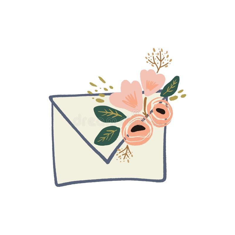 Letra del sobre con s?mbolos de los elementos, la primavera o la tarjeta de felicitaci?n floral del verano libre illustration