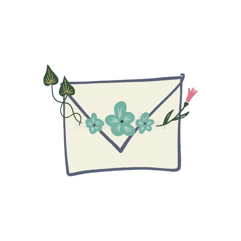 Letra del sobre con s?mbolos de los elementos, la primavera o la tarjeta de felicitaci?n floral del verano stock de ilustración