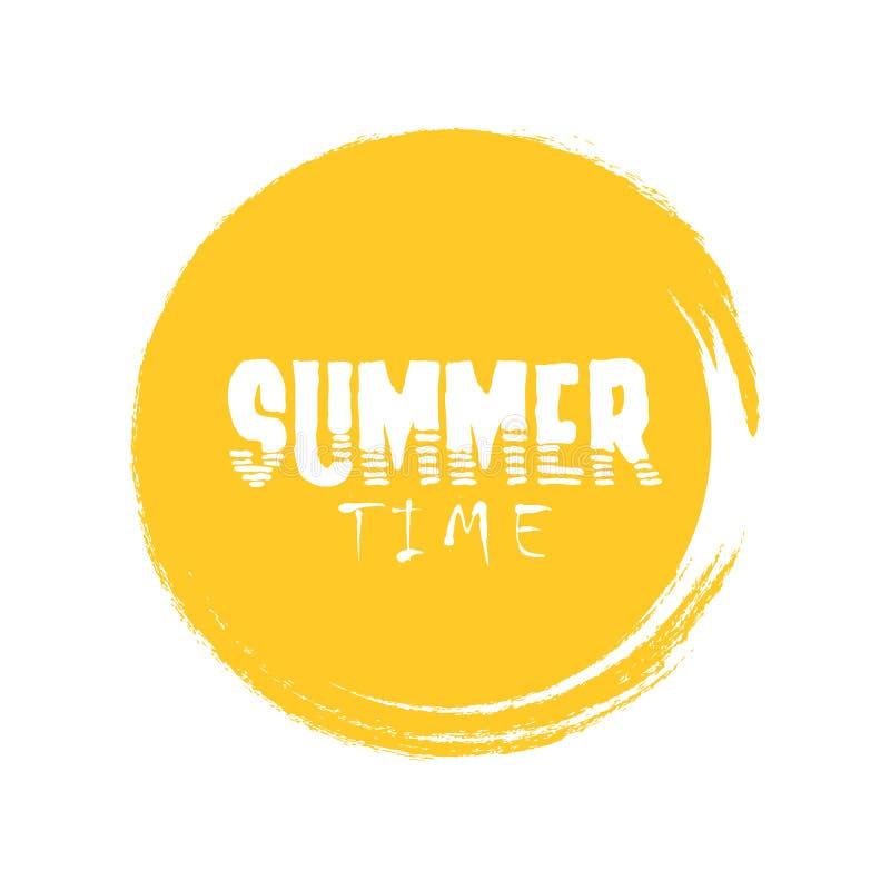 Letra del tiempo de verano en el ejemplo anaranjado del vector del círculo del grunge redondo ilustración del vector