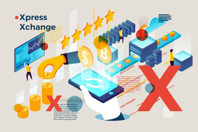 Letra X del vector con intercambio expreso del dinero en línea stock de ilustración