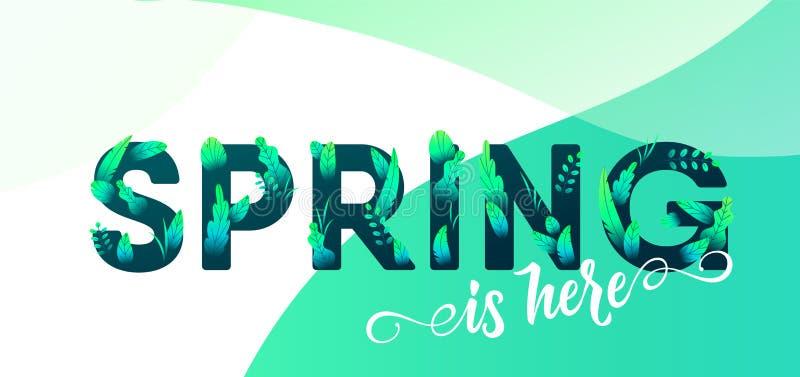 Letra del verde de la primavera con el fondo del vector de las hojas Ejemplo floral del diseño gráfico de la primavera para el ca ilustración del vector