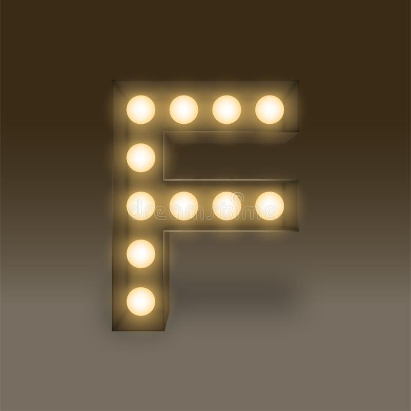 Letra determinada incandescente F, ejemplo de la caja de la bombilla del alfabeto ilustración del vector