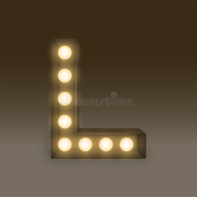 Letra determinada incandescente L, ejemplo de la caja de la bombilla del alfabeto libre illustration