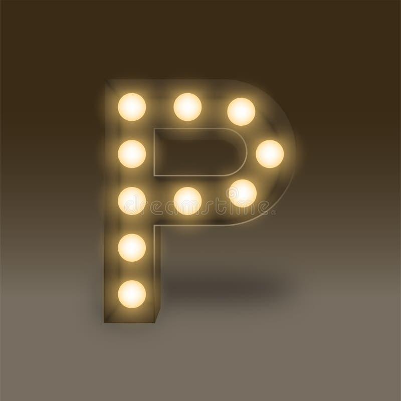 Letra determinada incandescente P, ejemplo de la caja de la bombilla del alfabeto ilustración del vector
