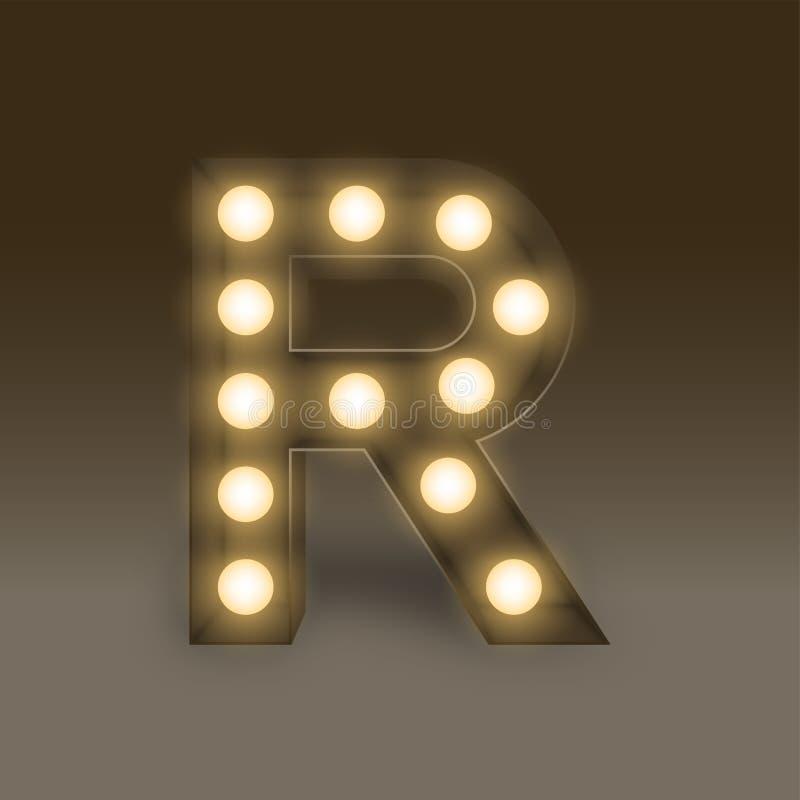 Letra determinada incandescente R, ejemplo de la caja de la bombilla del alfabeto ilustración del vector