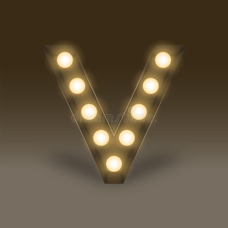 Letra determinada incandescente V, ejemplo de la caja de la bombilla del alfabeto ilustración del vector