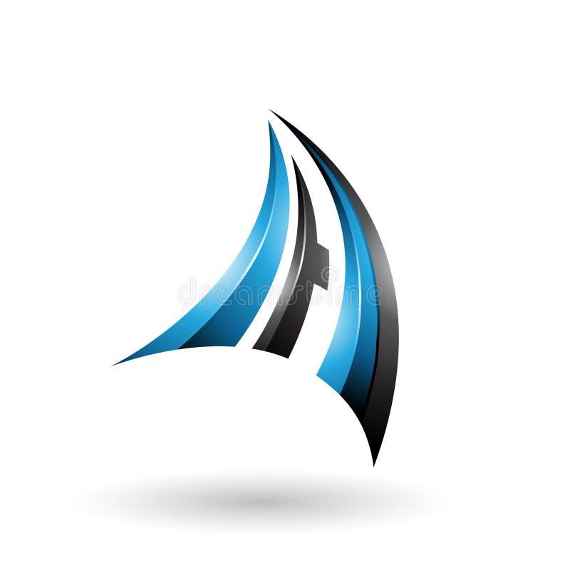 A letra dinâmica azul e preta A do voo 3d isolou-se em um fundo branco ilustração stock