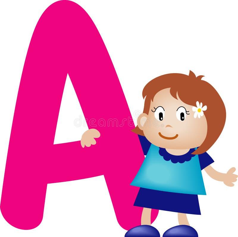 Letra A do alfabeto (menina) ilustração royalty free
