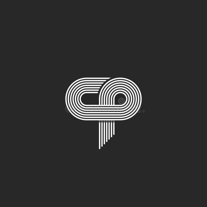 Letra do cp do logotipo das iniciais, linha fina paralela emblema do cartão do símbolo da união c p do monograma, sinal da associ ilustração do vetor