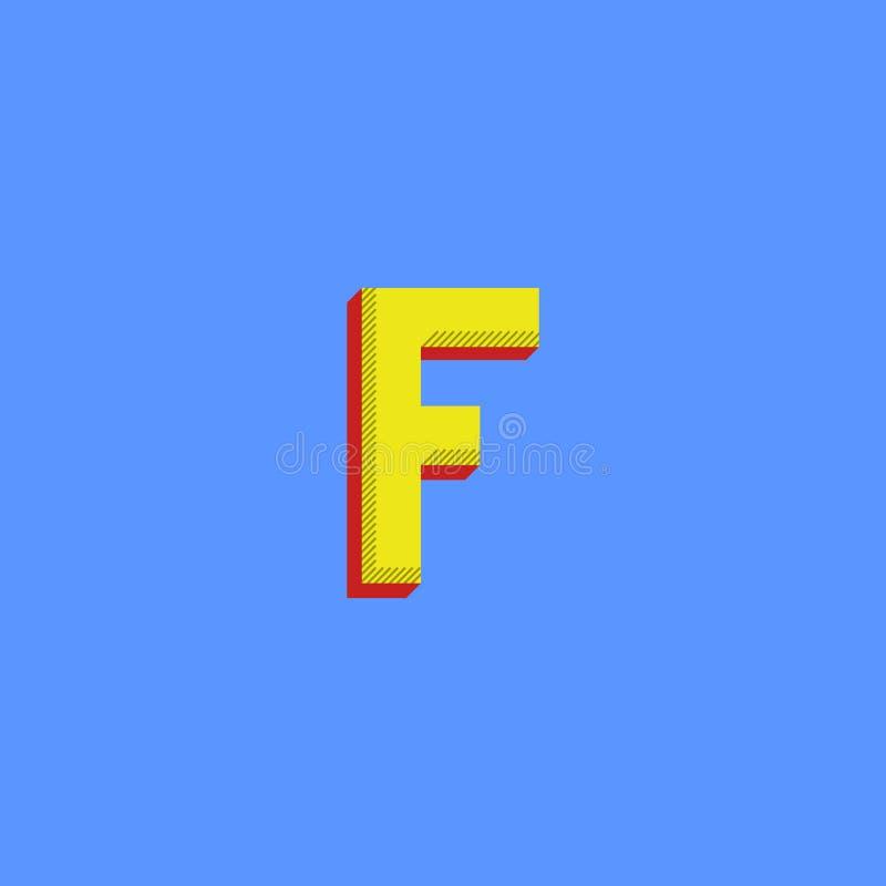 Letra do logotipo F Modelo minimalistic do emblema da cópia de intervalo mínimo da tipografia das cores O símbolo inicial isométr ilustração stock