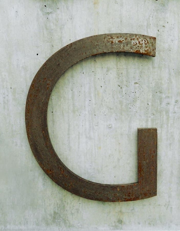 Letra do metal de G imagem de stock