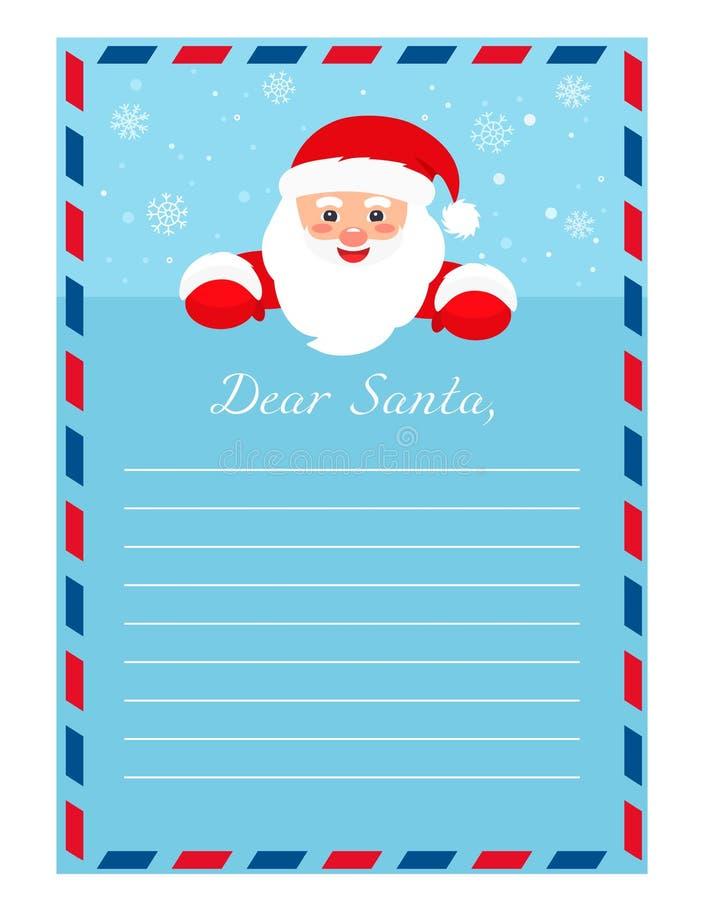Letra do molde a Santa Claus Formulário vazio para os desejos dos presentes ilustração royalty free