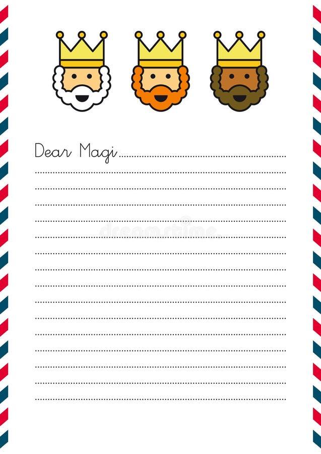Letra do Natal aos três Reis Magos ilustração royalty free