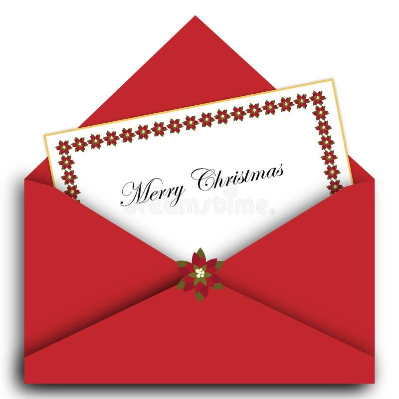 Letra do Natal com envelope ilustração royalty free