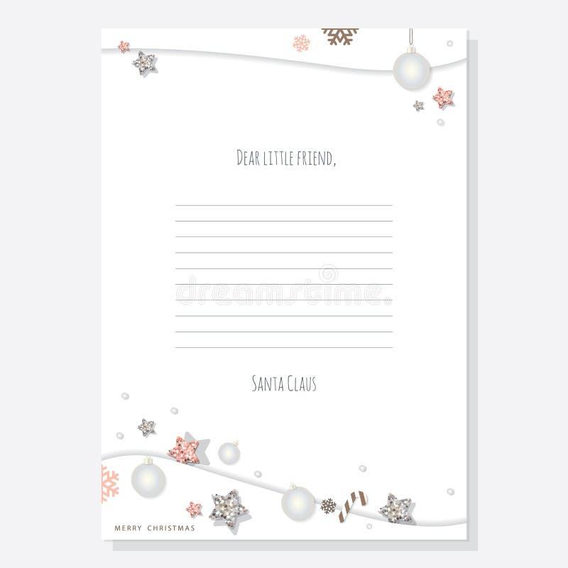Letra do Natal do molde A4 de Santa Claus Decorado com estrelas do brilho e as bolas de prata ilustração royalty free