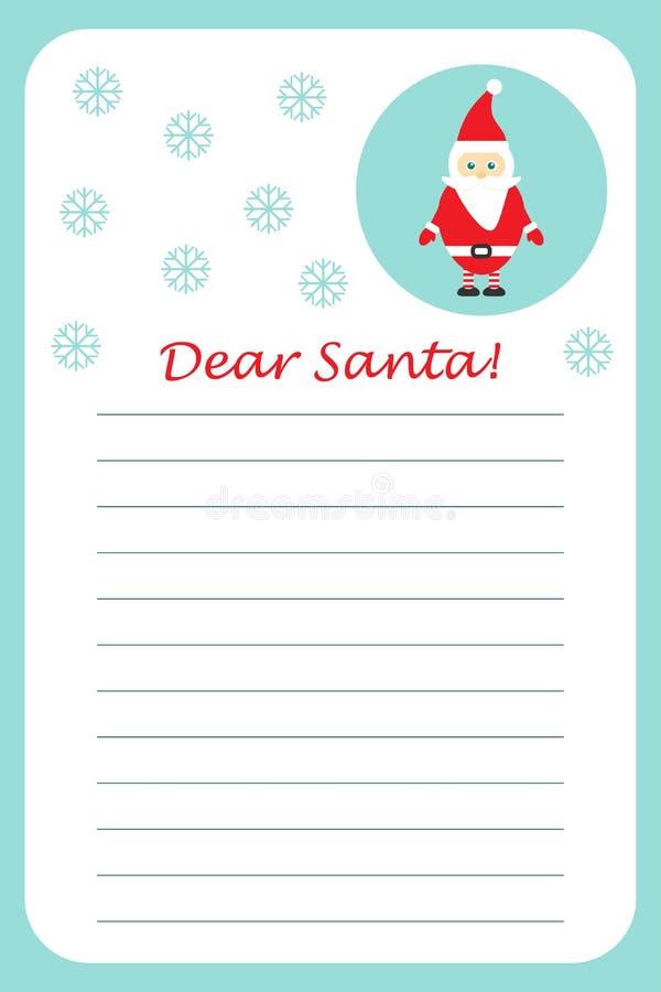 Letra do Natal a Santa Claus para crianças, layot do molde, atividade pré-escolar para crianças, ilustração do divertimento do ve ilustração royalty free