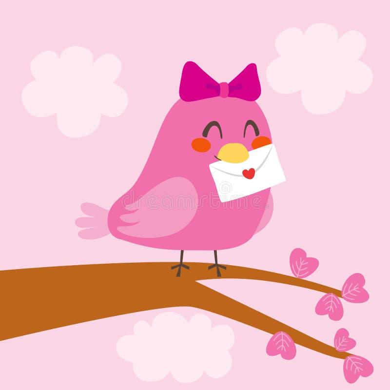Letra do pássaro do amor ilustração stock