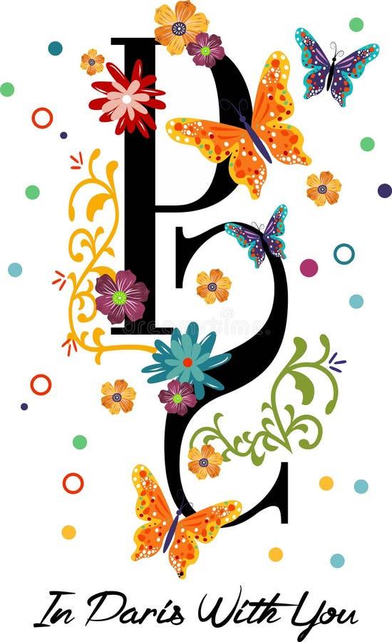 Letra do projeto de Paris e flores e borboletas gráficas ilustração do vetor