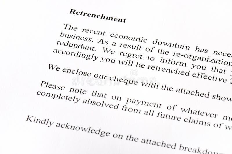 Letra do Retrenchment foto de stock royalty free