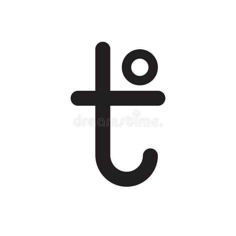 Letra do sinal T da temperatura Ícone de expressar da quantidade física quente e frio Ilustração lisa do vetor do projeto ilustração royalty free