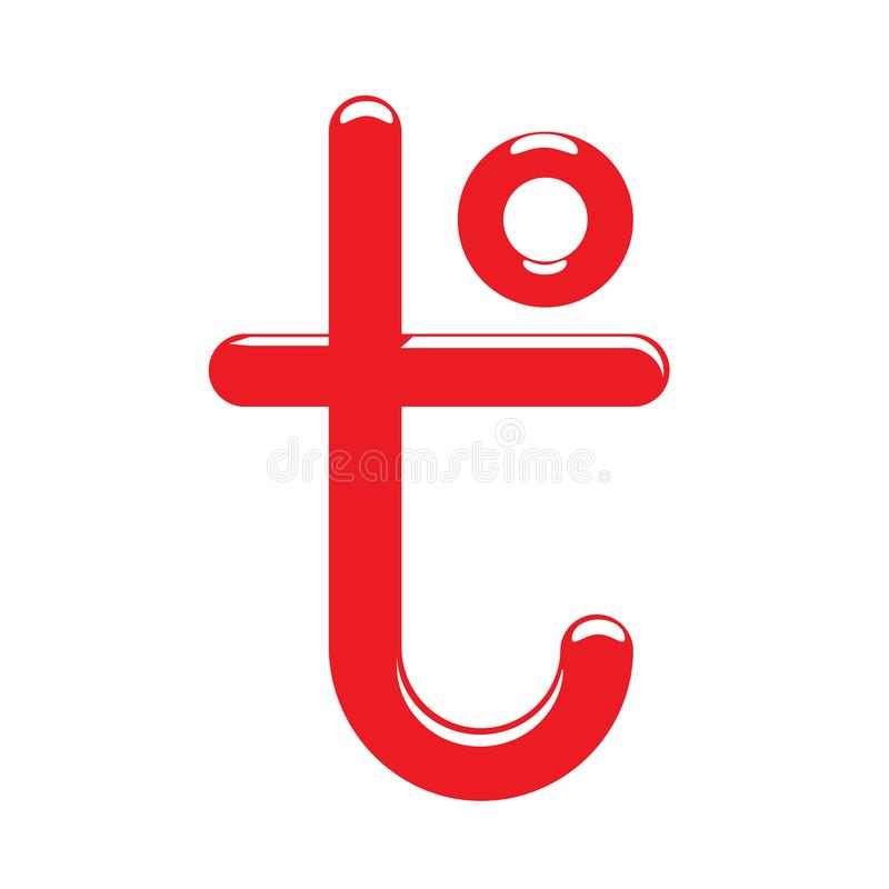Letra do sinal T da temperatura Ícone de expressar da quantidade física quente e frio Ilustração do vetor do projeto dos desenhos ilustração royalty free