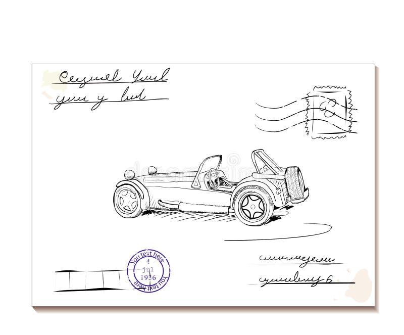 Letra do vintage com car2 velho ilustração stock